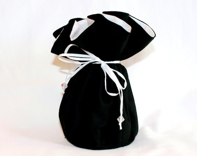 BLACK Fabric Jewelry Organizer ~ Pouch ~ Storage Case ~ Bag ~ Tote - Bell Art Designs ~ Large ~ JBLG0080