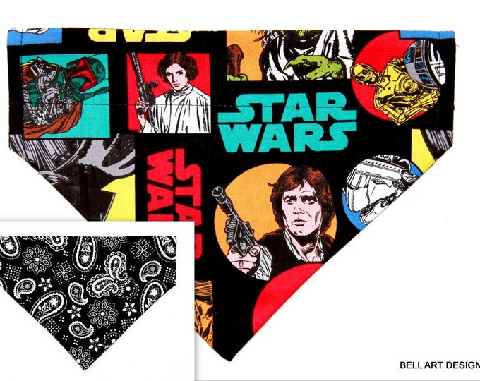 DOG BANDANA ~ Star Wars and Paisley ~ Over the Collar ~ Reversible ~ Bell Art Designs ~ Medium ~ DCM0690