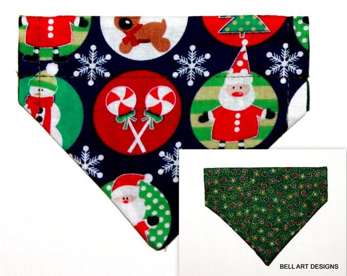 CHRISTMAS ~ Over the Collar ~ Reversible ~ Dog Pet Bandana ~ Bell Art Designs ~ Extra Extra Small DCXXS130