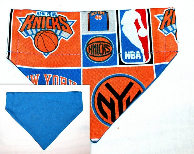 NEW YORK KNICKS ~ Over the Collar ~ Dog Bandana ~ Reversible ~ Bell Art Designs ~ Small DCS181