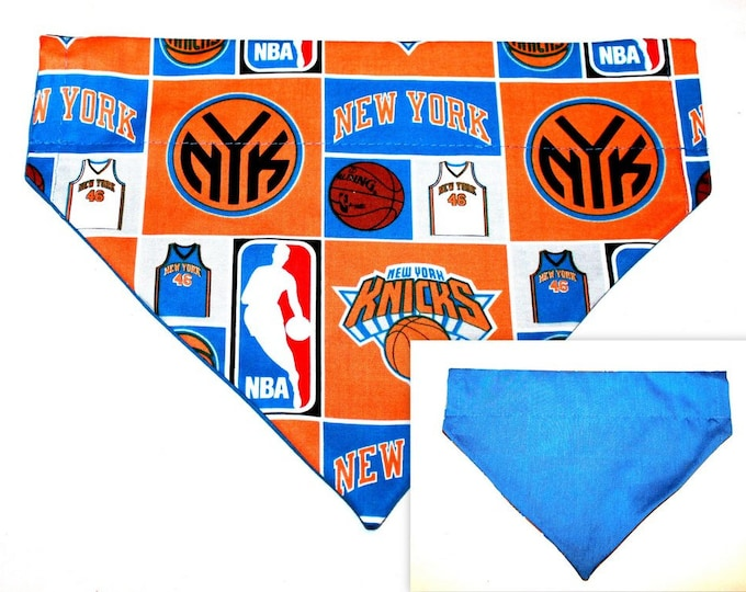 NY KNICKS ~ Over the Collar ~ Reversible ~ Dog Pet Bandana ~ Bell Art Designs ~ Large DCL0114