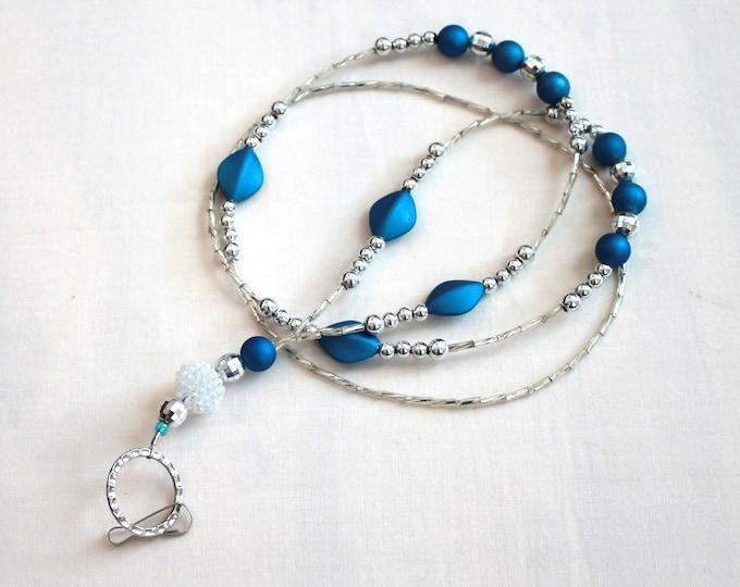 Blue and Silver Beaded Lanyard, ID Badge Holder, Bell Art Designs LAN0180