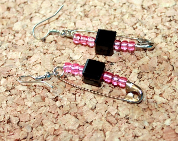 Jet Black Square Crystal and Pink Safety Pin Earrings, Retro Earrings,  Dangle Earrings, Bell Art Designs 145