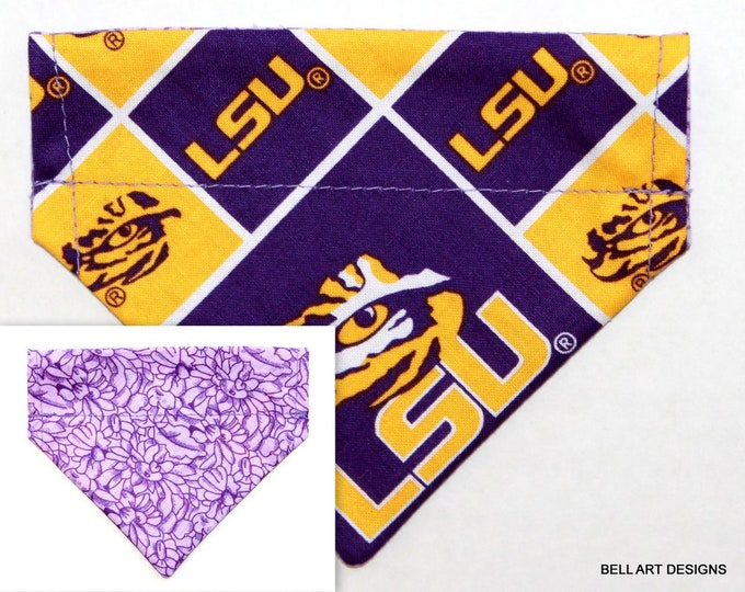 LSU, Louisiana l~ Over the Collar ~ Reversible ~ Dog Pet Bandana ~ Bell Art Designs ~ Extra Extra Small DCXXS227
