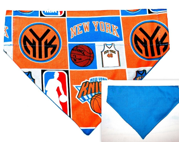 DOG BANDANA ~ NY Knicks ~ Over the Collar ~ Reversible ~ Bell Art Designs Medium, DCM0250