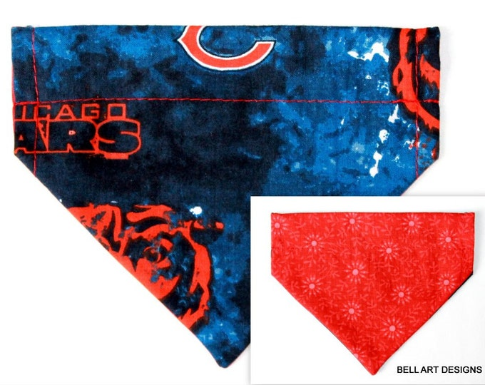 CHICAGO BEARS, Over the Collar ~ Reversible ~ Dog Pet Bandana ~ Bell Art Designs ~ Extra Small ~ DCXS0378