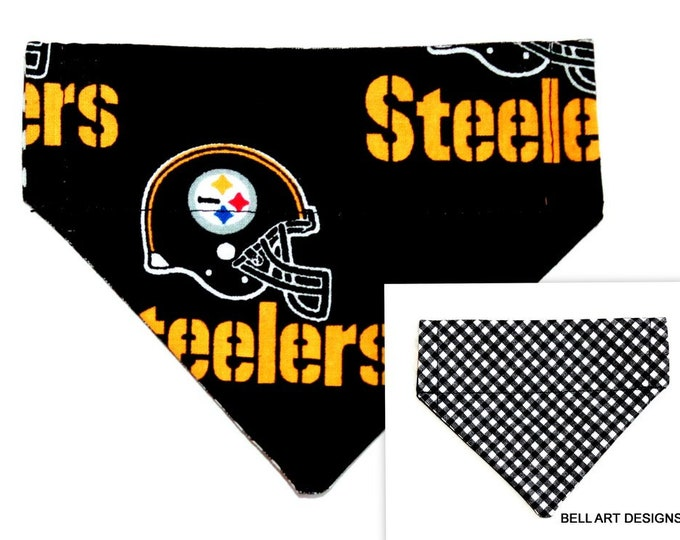 PITTSBURGH STEELERS ~ Over the Collar ~ Reversible ~ Dog Pet Bandana ~ Bell Art Designs ~ Extra Extra Small DCXXS0045