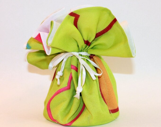 GREEN Fabric Jewelry Organizer ~ Pouch ~ Storage Case ~ Bag ~ Tote - Bell Art Designs ~ Large JBLG0051