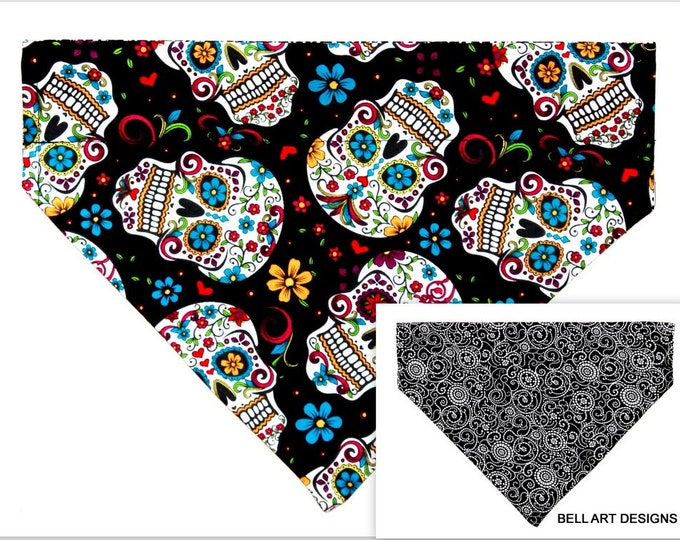 DAY of the DEAD ~ Over the Collar ~ Reversible ~ Dog Pet Bandana ~ Bell Art Designs ~ Large DCL699
