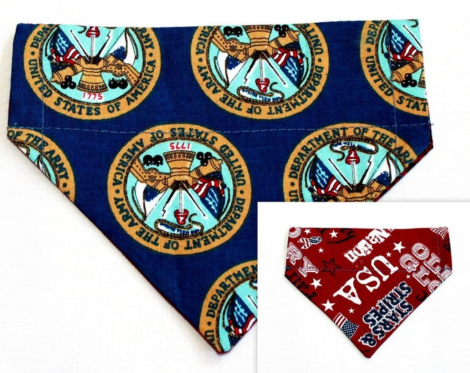 ARMY, USA ~ Over the Collar ~ Reversible ~ Dog Pet Bandana ~ Bell Art Designs ~ Extra Small ~ DCXS0202