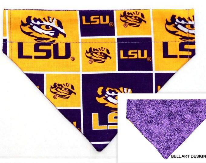 DOG BANDANA ~ Over the Collar ~ Reversible ~ LSU, Louisiana ~ Bell Art Designs ~ Small DCS602