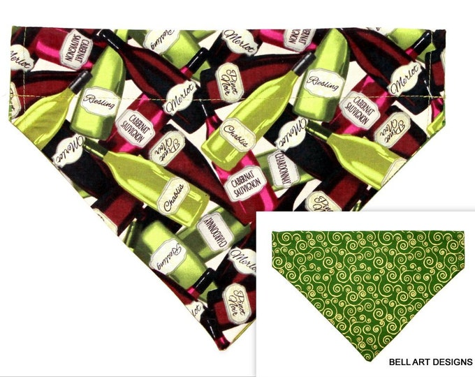 WINE BOTTLES ~ Over the Collar ~ Reversible ~ Dog Pet Bandana ~ Bell Art Designs ~ Large ~ DCL0638