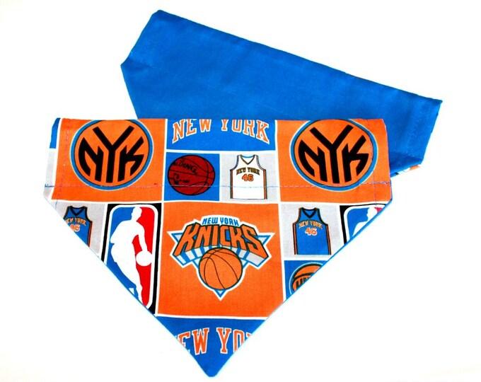 DOG BANDANA ~ New York Knicks ~ Over the Collar ~ Reversible ~ Bell Art Designs ~ MEDIUM ~ DCM0248