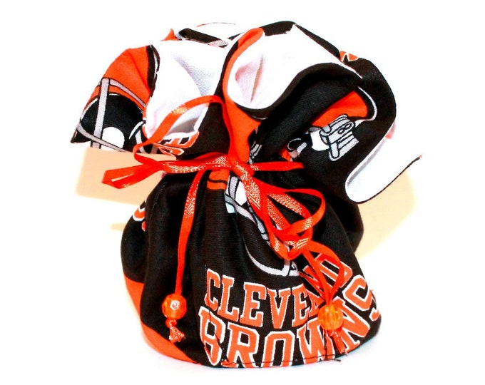 CLEVELAND BROWNS Fabric Jewelry Organizer ~ Pouch ~ Storage Case ~ Bag ~ Tote - Bell Art Designs ~ Medium JBMD351