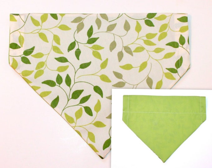 DOG BANDANA ~ Over the Collar ~ Reversible ~ Green Leaves ~ Bell Art Designs ~ Large ~ DCL4