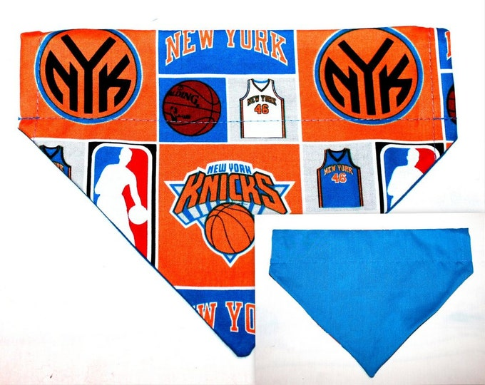 DOG BANDANA ~ NY Knicks ~ Over the Collar ~ Reversible ~ Bell Art Designs Medium, DCM0249