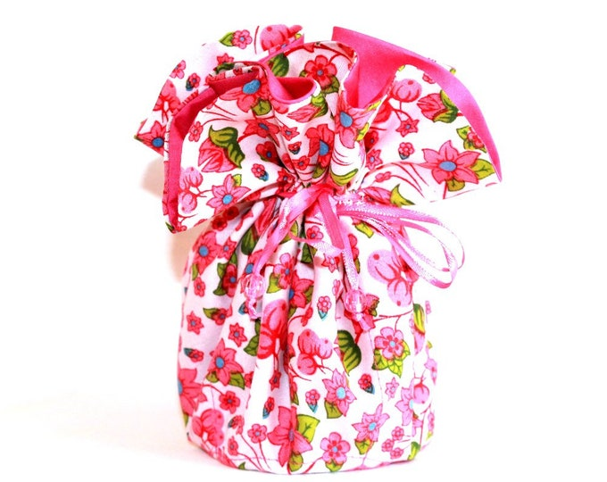 PINK FLORAL Fabric Jewelry Organizer ~ Pouch ~ Storage Case ~ Bag ~ Tote - Bell Art Designs ~ Large JBLG0092