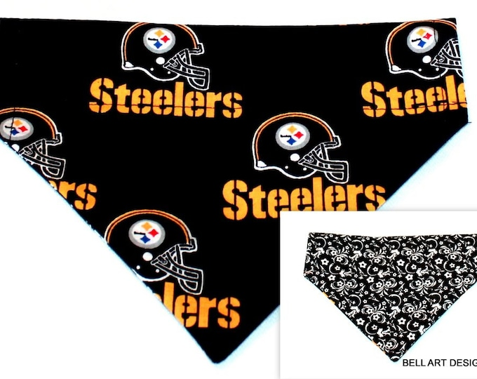 DOG BANDANA ~ Pittsburgh Steelers ~ Over the Collar ~ Reversible ~ Bell Art Designs ~ Medium ~ DCM0446