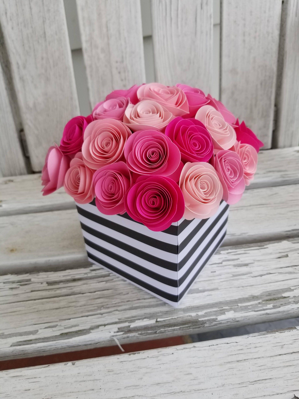 Spiral Rose Centerpiece Paper Flower Centerpiece Shade of Pink   Etsy