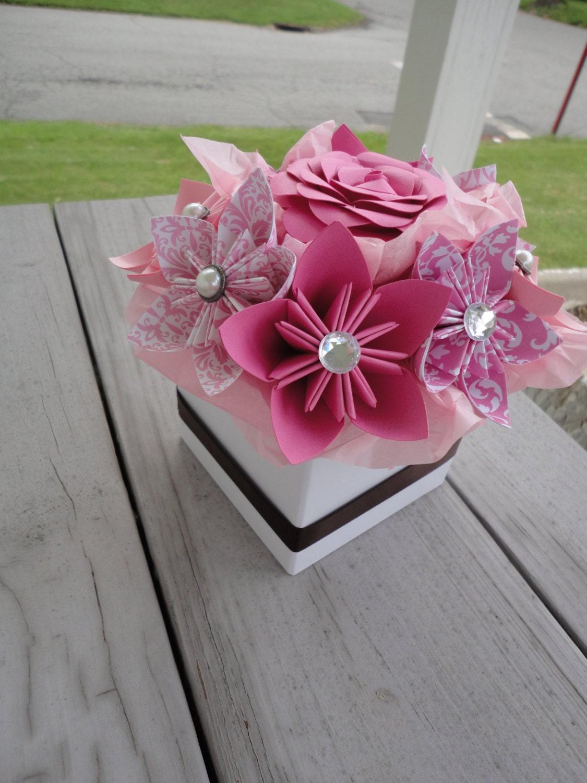 origami paper flower centerpiece kusudama pink small