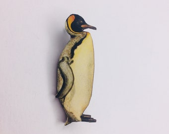Birds Gift Watcher Wildlife Nature Birthday Small Present Christmas Penguin Lovers South Pole Antarctica King Penguin Wooden Brooch Pin