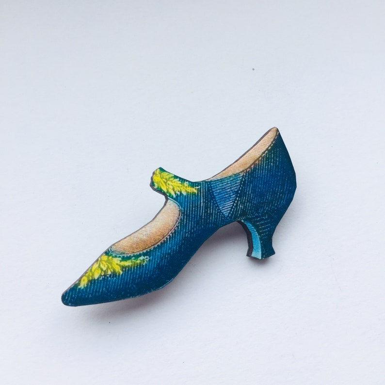 Blue Vintage Women's Heeled Shoe with Yellow Flowers  image 0