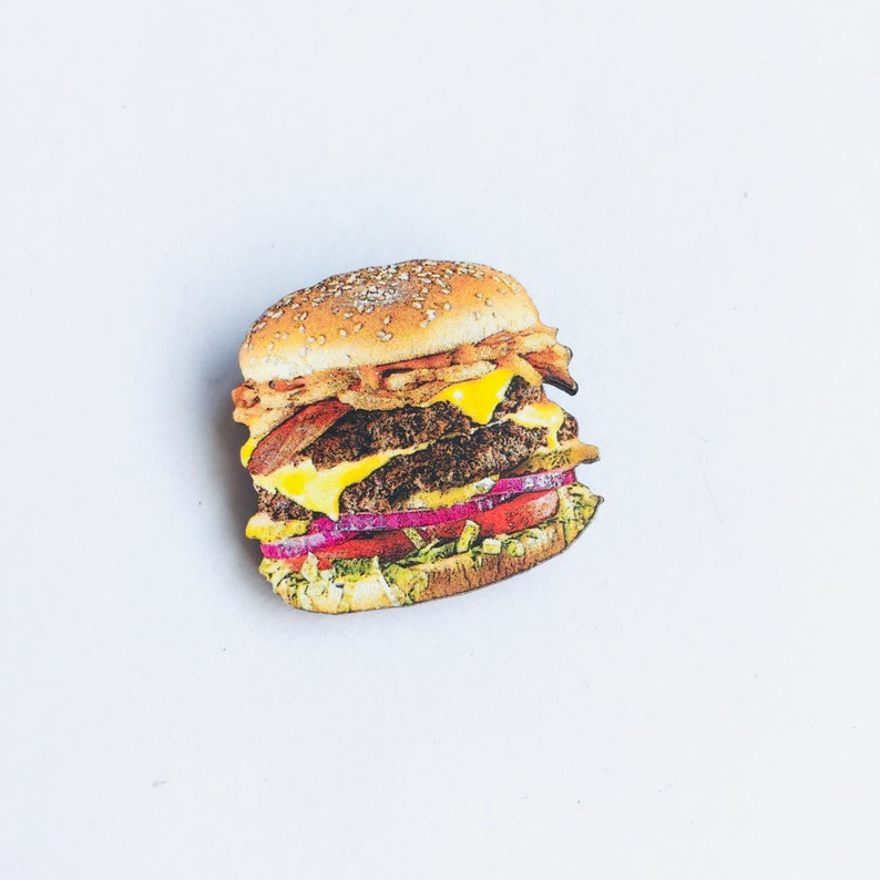 Mini Delicious Cheese Burger  Laser Cut Wooden Brooch Pin  image 0