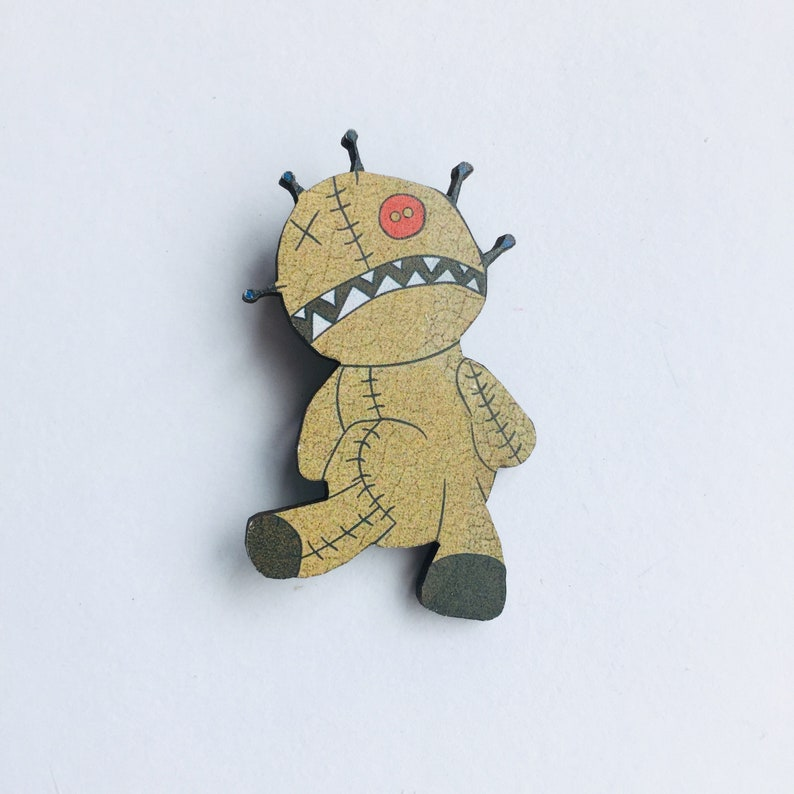 Alien Teddy Bear Voodoo Doll  Laser Cut Wooden Brooch Pin  image 0