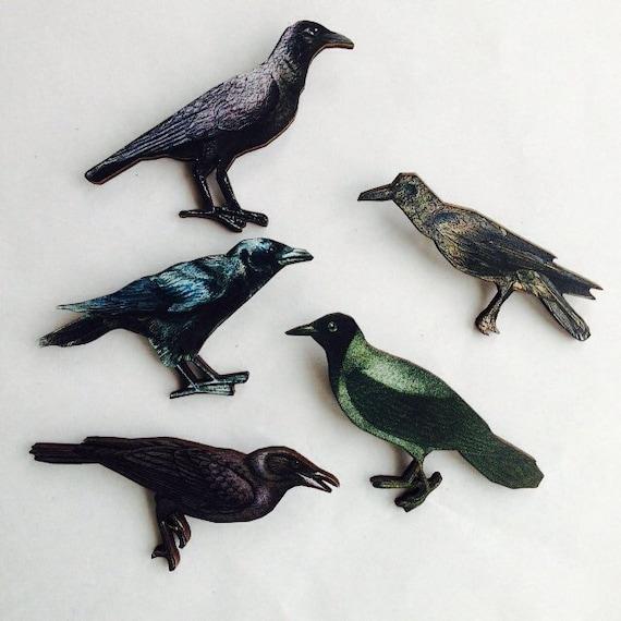 Black Raven Rook Crow or Big Back Bird Halloween Bird Wooden Brooch Pin Birds Woodland Gift Watcher Wildlife Nature Birthday for Her Small