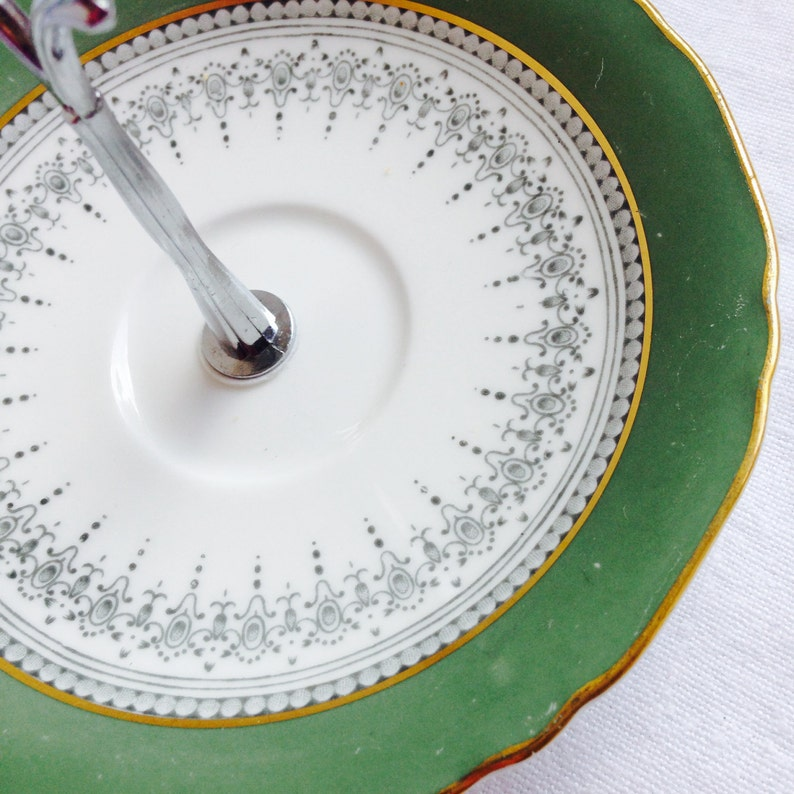 Green White Saucer Stand for Candy Jewellery Regency Cake Stand English Bone China Afternoon Tea Party Bridal Gift for Wedding Anniversary