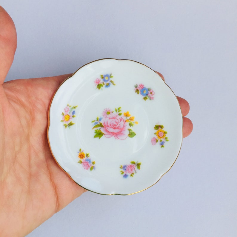 Floral China Miniature Tea Plate  Brooch Pin  Birthday Gift image 0