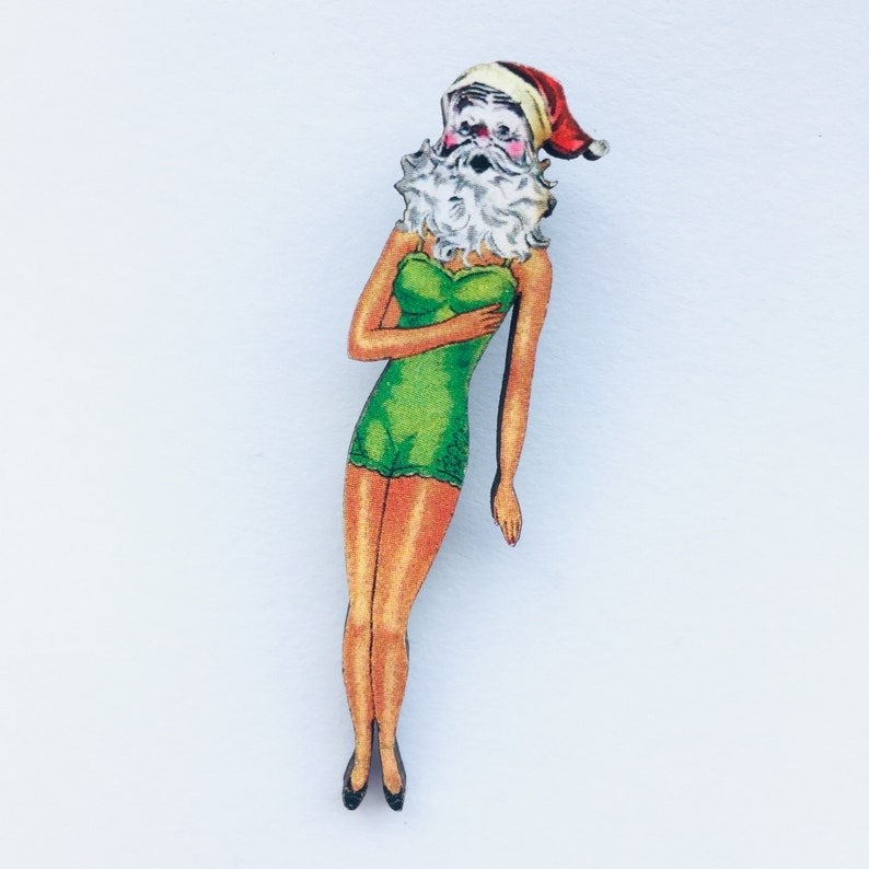 Laser Cut Wooden Brooch Green Dress Outfit Vintage Fashion Model Birthday Christmas Gift 1960s Lady with Santas Head