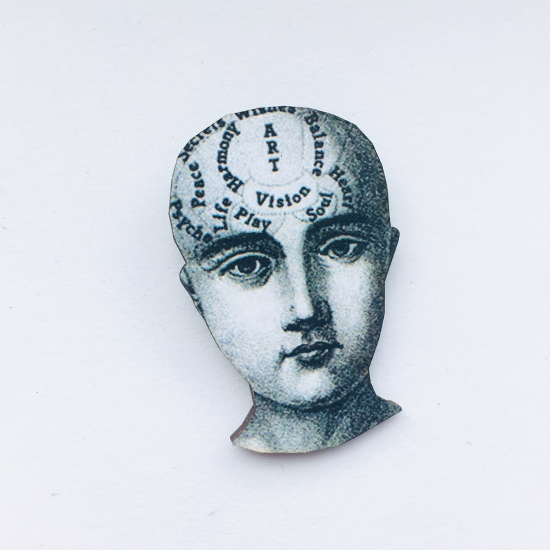 Vintage Phrenology Chart  Wooden Brooch Pin   Victorian image 0