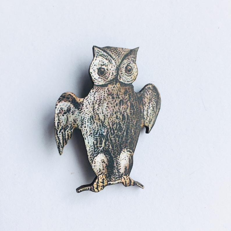Owl  Wooden Brooch Pin  Flying Birds Woodland Gift Watcher image 0