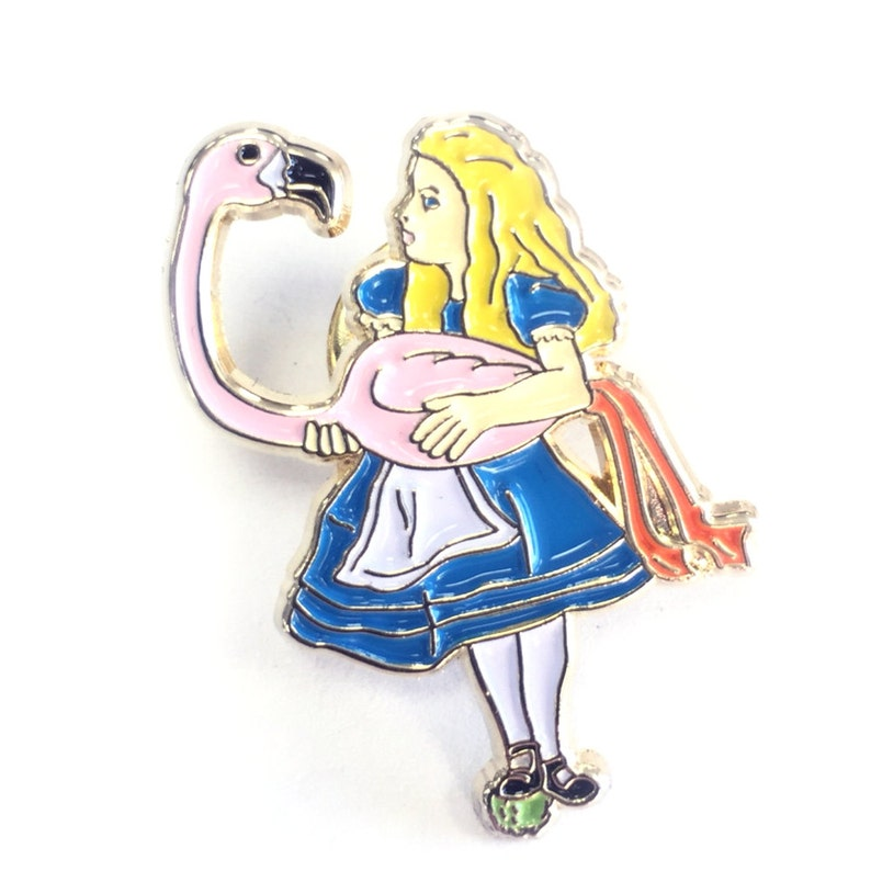 Alice in Wonderland Carrying Pink Flamingo Enamel Pin Gold image 0