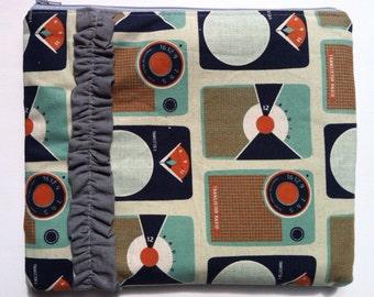 Gadget Case Mini laptop case IPad case Ruffled Transistor Radio canvas linen Designer fabric Filofax cover