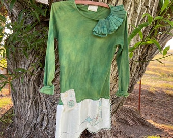 BRIDE Green lace gypsy boho pockets Holiday Romance embroidered Folk tunic Dress magnolia  boheme French county  shabby  Top cowgirl ranch