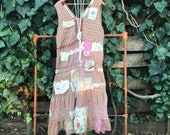 Summer Cottage hand dyed boho gypsy long dress Ranch Shabby chic boho pearl antique lace French country prairie cowgirl wyoming magnolia