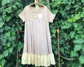 Hand dyed Taupe rayon simple PLUS dress tunic gypsy shabby boho summer cowgirl ranch magnolia pearl Wyoming lace