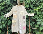 French country Linen European duster dress bride wedding Ranch barn Shabby chic Ivory bride pearl tatters prairie cowgirl wyoming magnolia