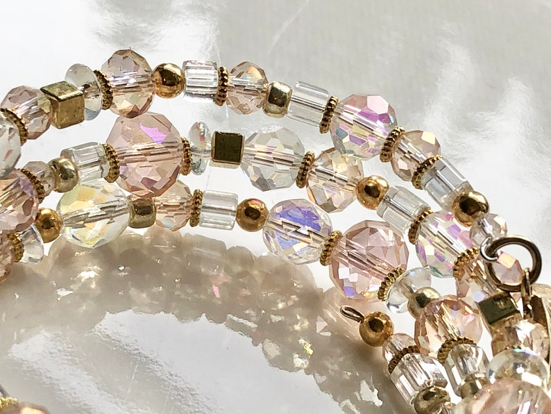 Triple 3 Stack Bracelet Seashell For Her Boho Chic Sparkly Blush Pink Czech Clear Beads Boho Gold Faceted Glass