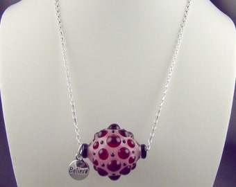 """Lampwork Glass Hollow Bead, Sterling Silver Chain, Lobster Clasp, and 'Believe' Drop. Necklace - 18-20"""" Hand Crafted Artisan Jewelry"""
