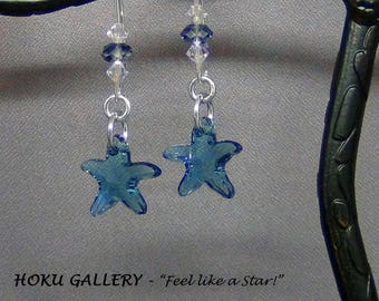 "Indicolite Blue Starfish Earrings - Swarovski Crystal Starfish, Sterling Silver Earwires - 2"" - Hand Crafted Artisan Jewelry"