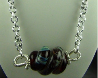 """Red Glass Bead, Wire Wrapped with Sterling Silver Wire, Anodized Aluminum Chain - Necklace - 20-22"""""""