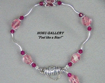 """Sterling Silver Twists, Light Rose & Siam Swarovski Crystals, Magnetic Clasp - Bracelet  - 7"""" - Hand Crafted Artisan Jewelry"""