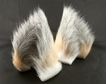 Small Blonde Gray Tipped Golden Island Fox Long Fur Leather Ears Limited Edition kitsune Cosplay Furry Goth Fantasy Fashion Wear