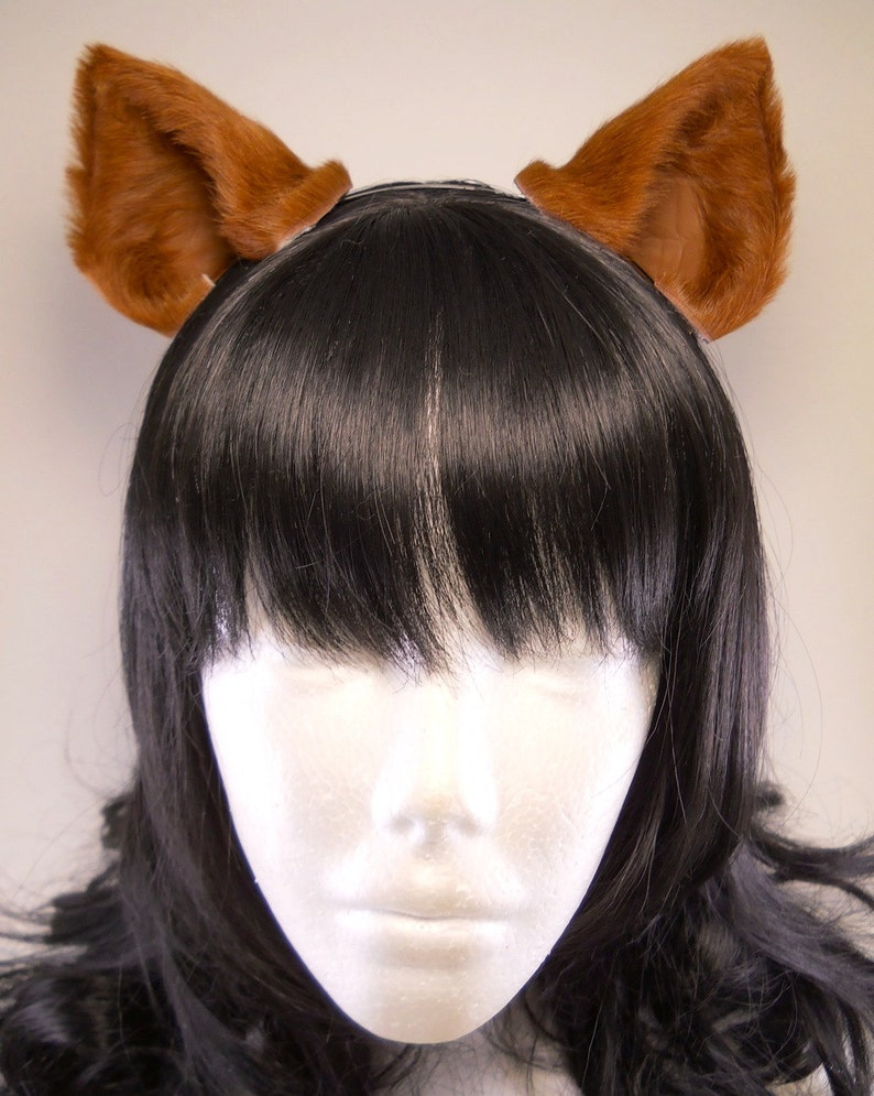 Copper Brown Cat Ears Fur Leather Realistic Cosplay Kitten Pet ...