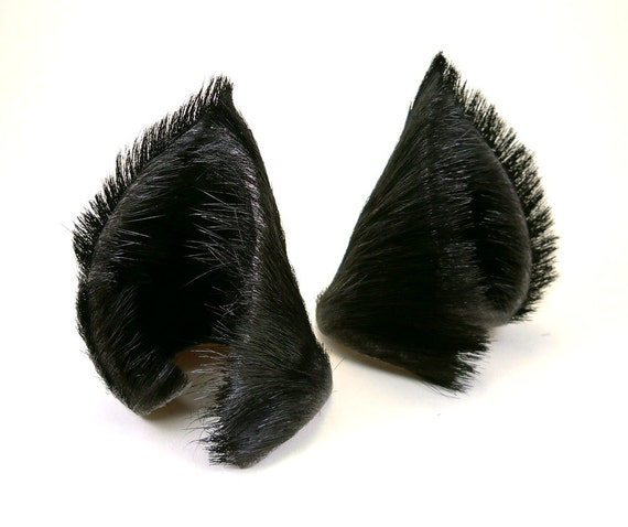 2e0337c8cb9 Black Fur Leather Wolf Dog Fox Ears Inumimi Kitsune Fairy   Etsy