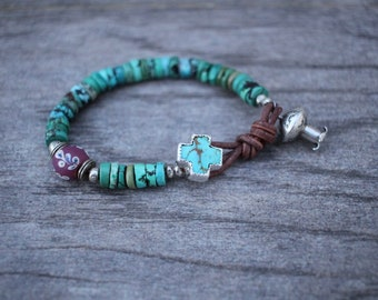 Considerate Beautiful Handmade Turquoise Bead And Silver Leaf Feather Charm Anklet Jewellery & Watches