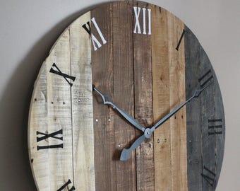 Wall clock, modern rustic FARMHOUSE decor, round clock, grey gray brown tan Natural Reclaimed Wood, 5 Year Anniversary gift